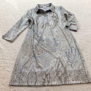 Gretchen Scott pale blue brown stretch collar dres
